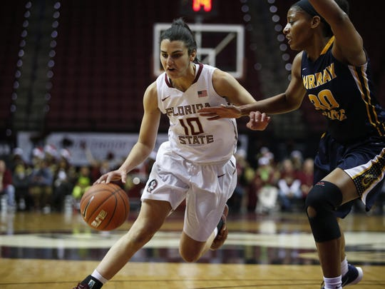 FSU's Leticia Romero, seen here against Murray State, scored a season-high 18 points in a 66-55 win at Pittsburgh on Sunday. Romero added seven rebounds and six assists.