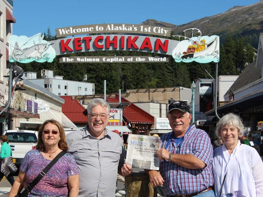 Fulfilling one of their bucket list items, Milford residents (from left) Chris Rueff, Larry Rueff, LeRoy Brown and Jeanne Brown had their photo taken while in Ketchikan, Alaska, during their two-week Alaskan vacation this past September.