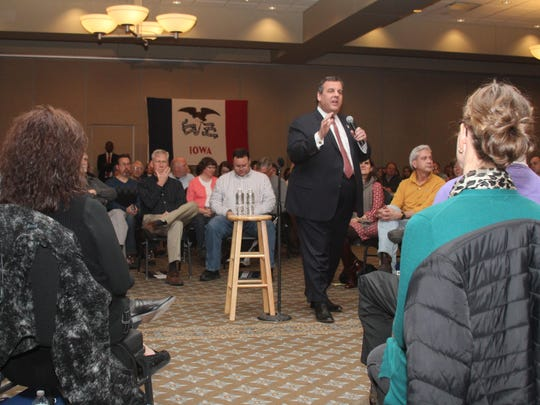 In this Jan. 29, 2016, file photo, Republican presidential candidate New Jersey Gov. Chris Christie speaks at a town hall meeting at the Rogalski Center on the campus of St. Ambrose University in Davenport, Iowa. At nearly every stop in New Hampshire, Christie ends his remarks with a somber story of a couple he met at town hall event in Burlington, Iowa. An Iowa couple whose son is heading to Iraq made such an impression on Christie that he's made them a staple of his New Hampshire stump speech this week. But while the couple came away from the encounter just as impressed, they supported rival Marco Rubio in the state's caucuses. (Thomas Geyer/Quad City Times via AP) MANDATORY CREDIT