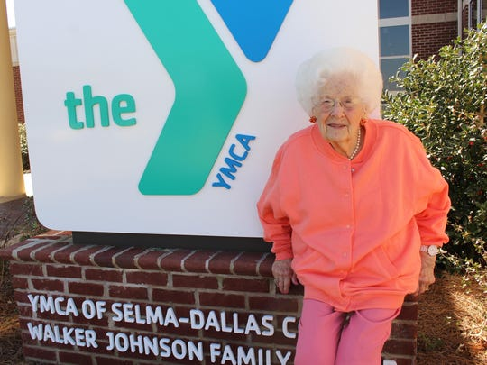 "Mallieve Breeding, known as ""Madame Butterfly"" in Selma, enjoys the sunshine outside the Selma-Dallas County YMCA."