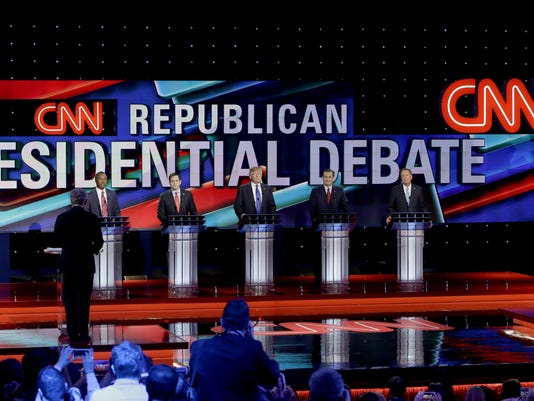 Ben Carson, Marco Rubio, Donald Trump, Ted Cruz, and John Kasich appear