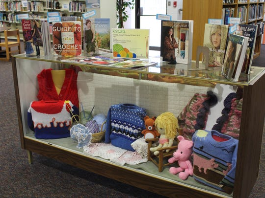 Hammonton Library's knitting and crocheting display prepared for Makers Day.