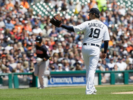 Detroit Tigers starting pitcher Anibal Sanchez (19) waits for a new ball as Cleveland Indians' Yan Gomes rounds the bases on a three-run home run during the third inning of a baseball game, Saturday, April 23, 2016, in Detroit. (AP Photo/Carlos Osorio)