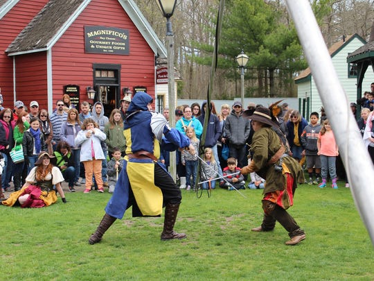 A sword fight competition during the Renaissance Faire.
