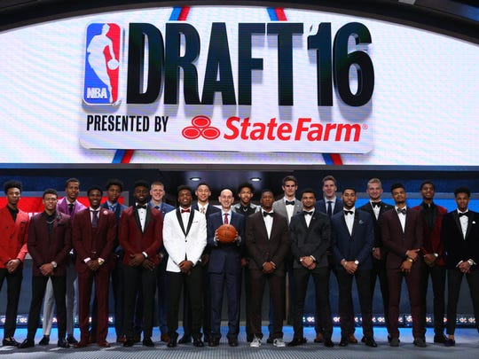 Jun 23, 2016; New York, NY, USA; NBA commissioner Adam Silver poses for a group photo on stage with draft prospects before the 2016 NBA Draft at Barclays Center. Mandatory Credit: Brad Penner-USA TODAY Sports ORG XMIT: USATSI-269318 ORIG FILE ID: 20160623_jel_ae5_005.jpg