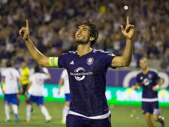 Kaka celebrates his goal on a penalty kick to give Orlando City a 3-2 win over Toronto FC.