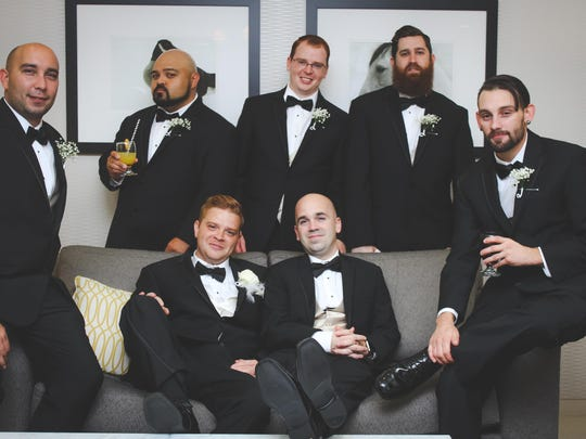 The groomsmen in the wedding of Ashley Rodichok and Brandon Megahan are, from left top row, Kistom Williams, Kevin Burkhart, Chris Megahan, Mark Hudson and Tyler Foraker; the groom and Steve Crampton
