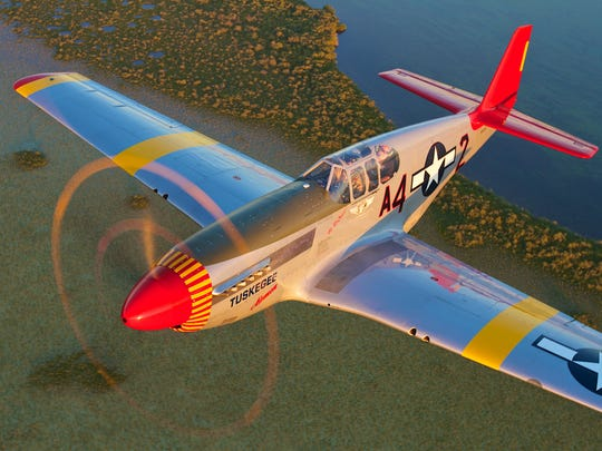 The WWII-era P-51C Mustang is the signature aircraft of the Tuskegee Airmen.