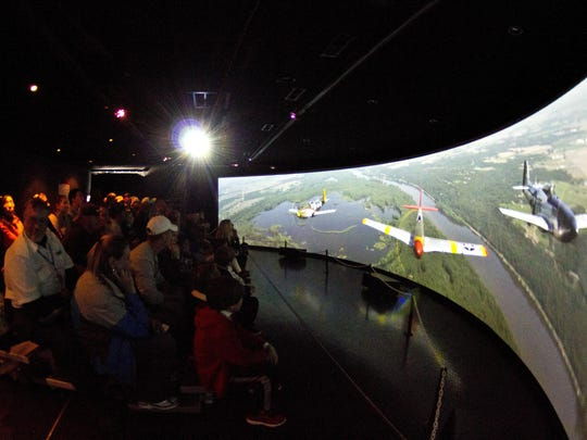 The 160-degree panoramic screen gives viewers the feeling of being in the cockpit of a P-51C Mustang.
