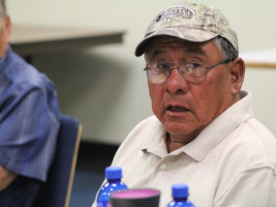 Gabe Grant speaks during a meeting of The Real People on Aug. 10. Grant and The Real People organization he is a member of are vocal critics of the draft constitution now under review by the U.S. Bureau of Indian Affairs.