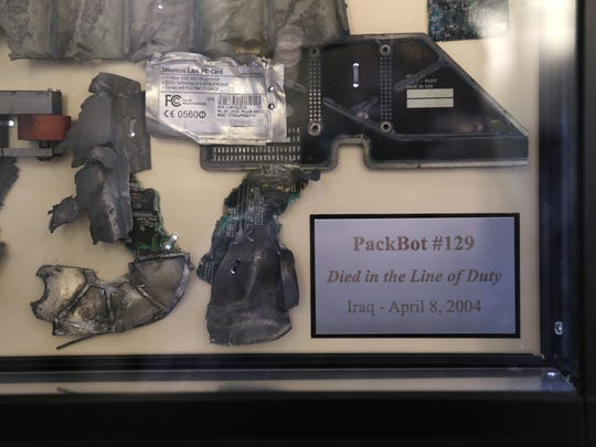 The remains of a military PackBot, which was destroyed in service with the U.S. military in Iraq.