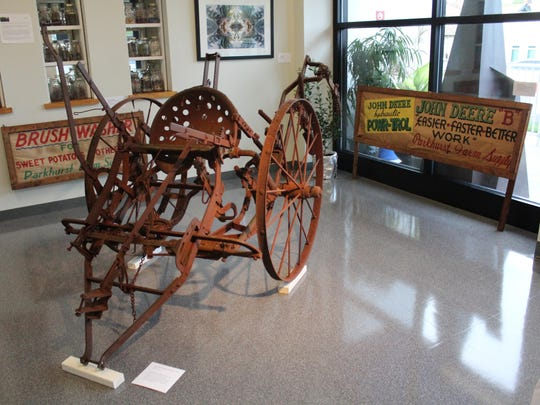 An old plow on display at the new agriculture exhibit.