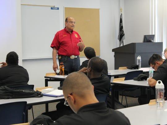 Former sheriff Ken Katsaris at home in classroom