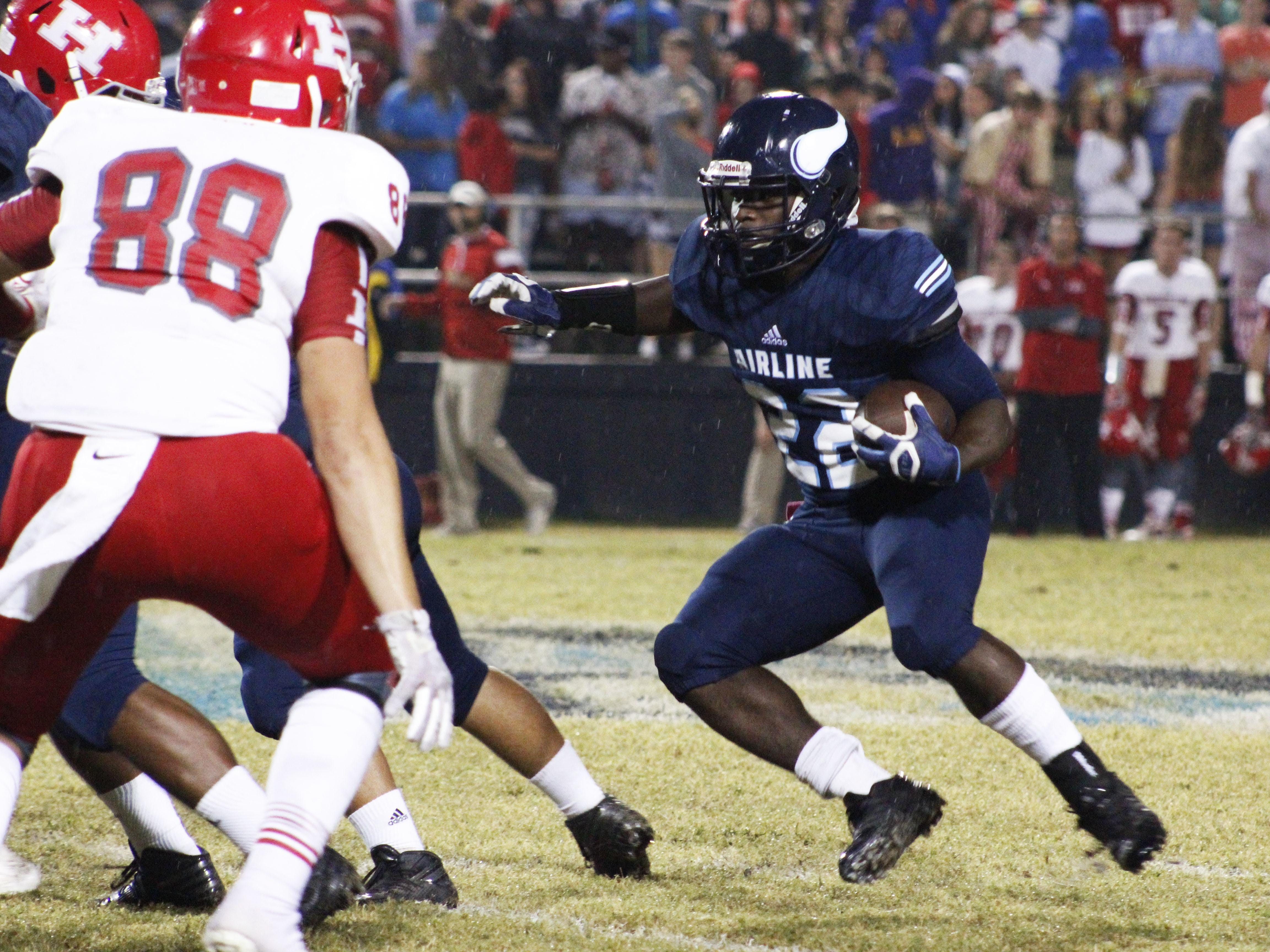 Airline's Brian Fielding makes a move against Haughton's defense Friday night at Airline High in Bossier City.
