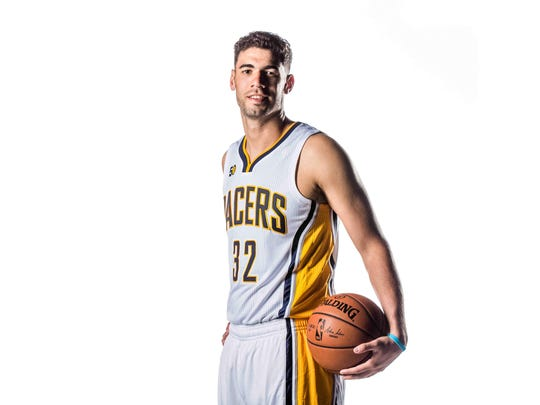 The Indiana Pacers No. 32, Georges Niang, poses for photos on Media Day at Bankers life Fieldhouse, Monday September 26th, 2016.