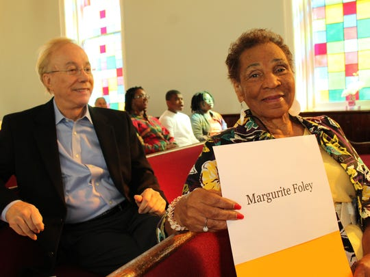 Margurite Foley was honored Saturday at Dexter Avenue King Memorial Baptist Church. Behind her is Lee Sentell, director of the state Bureau of Tourism and Travel.