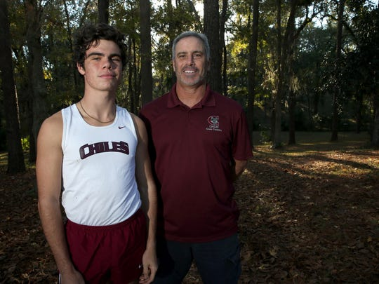 Chiles junior Michael Phillips is the 2016 All-Big Bend Cross Country Runner of the Year after winning a state title, while father Mike Phillips, in his first year at Chiles, is the 2016 All-Big Bend Coach of the Year for boys cross country after the Timberwolves finished as state runner-up.