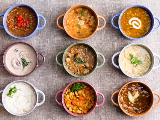 Assorted soups from worldwide cuisines
