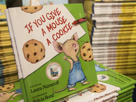 """""""If You Give a Mouse a Cookie"""" by guest author Laura Numeroff sits out for sale during the 17th Annual Florida Celebration of Reading presented by The Barbara Bush Foundation for Family Literacy."""