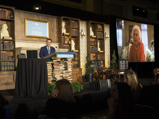 Honorary Chair Jeb Bush, Jr. facetimes with his grandmother, Barbara Bush (shown on the screen), during the 17th annual Florida Celebration of Reading on Friday.
