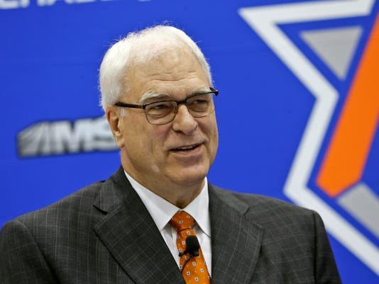 FILE - In this June 3, 2016, file photo, New York Knicks president Phil Jackson, responds to questions during an NBA basketball news conference to announce the hiring of Jeff Hornacek as the head coach, in Tarrytown, N.Y. The Knicks and Jackson parted ways Wednesday morning, June 28, 2017, ending a three-year tenure that saw plenty of tumult and not a single playoff appearance. (AP Photo/Frank Franklin II, File)