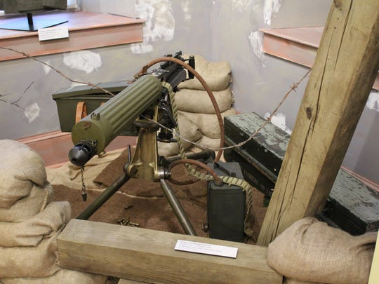 A machine gun used during World War I is on display at the Atlantic County Veterans Museum.