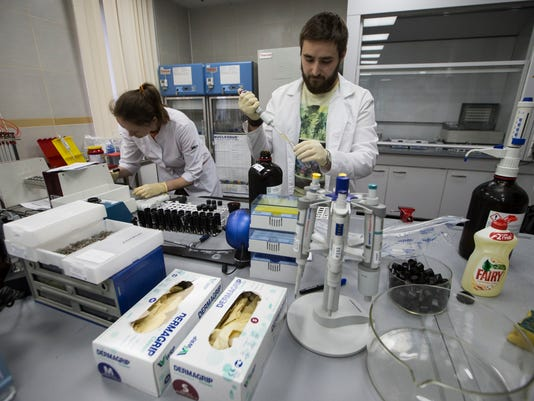 FILE - This is a Tuesday, May 24, 2016 file photo of employees Natalya Bochkaryova, left, and Ilya Podolsky work at the Russian Anti Doping Agency RUSADA drug-testing laboratory in Moscow, Russia. Russia wants to hit dopers where it hurts _ in their bank accounts. In a push to restore Russia's sporting reputation after numerous doping scandals, the government has officially approved a plan to confiscate prize money and government grants from athletes who are found to be cheating. (AP Photo/Alexander Zemlianichenko/File)