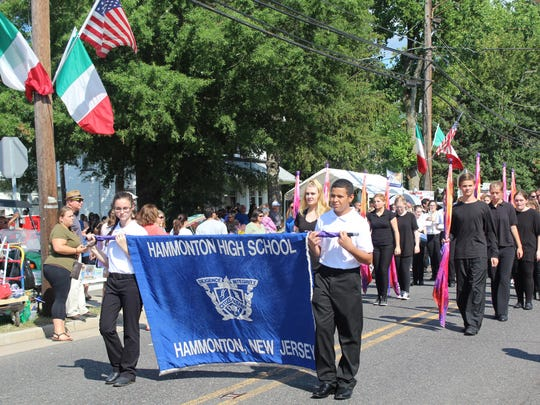 The Hammonton High School band and color guard were some of the many people to walk in the procession of Our Lady of Mount Carmel.