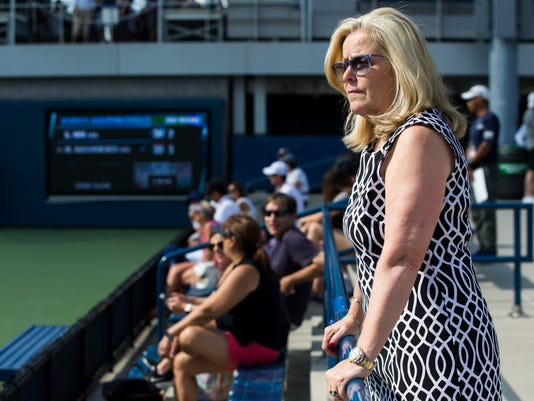 Stacey Allaster, the U.S. Tennis Association's chief executive for professional tennis, poses for a photo during a qualifying round of the U.S Open Thursday, Aug. 24, 2017, in New York. If Allaster has her way, changes such a serve clock and in-match coaching could make their way into the main draw of the tourney next year. (AP Photo/Michael Noble Jr.)