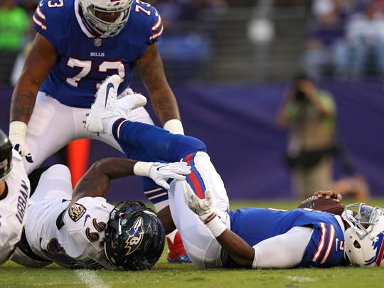 Tyrod Taylor suffered a concussion on this play last week and his status for the season opener remains unknown.