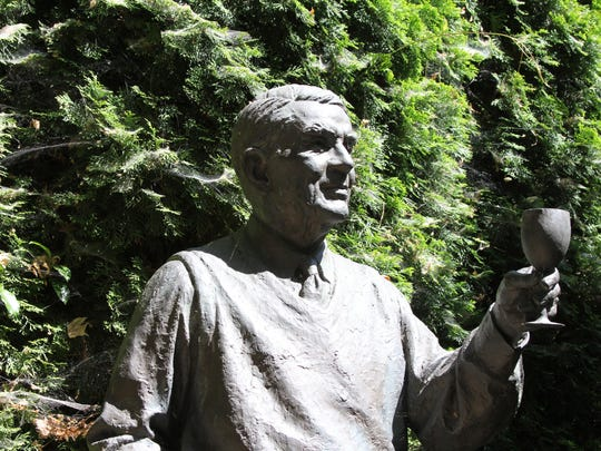 André Tchelistcheff, memorialized in bronze, raises an eternal toast in the garden at Beaulieu Vineyard, seen here in 205, in the Napa Valley.