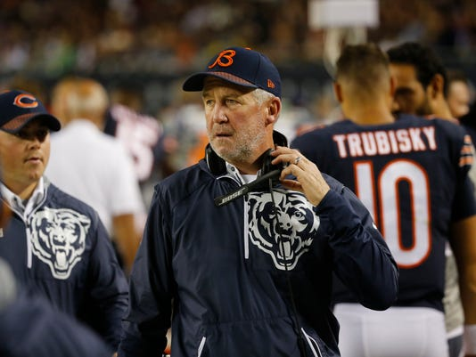FILE - In this Oct. 9, 2017, file photo, Chicago Bears head coach John Fox walks on the sideline during the first half of an NFL football game in Chicago. The Bears face yet another meaningless final regular season game at Minnesota. Except this time the Vikings have a lot to play for, with pursuit of a first-round bye for the playoffs. (AP Photo/Charles Rex Arbogast, File)