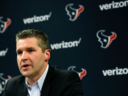 Houston Texans general manager Brian Gaine speaks during his introductory news conference on Wednesday, Jan. 17, 2018, in Houston. Gaine replaces longtime general manager Rick Smith. (Brett Coomer/Houston Chronicle via AP)