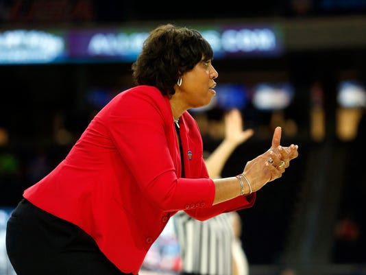 Western Kentucky head coach Michelle Clark-Heard directs her team against UAB during the first half of an NCAA college basketball game in the Conference USA Women's Basketball Championship in Frisco, Texas, Saturday, March 10, 2018. (AP Photo/Michael Ainsworth)
