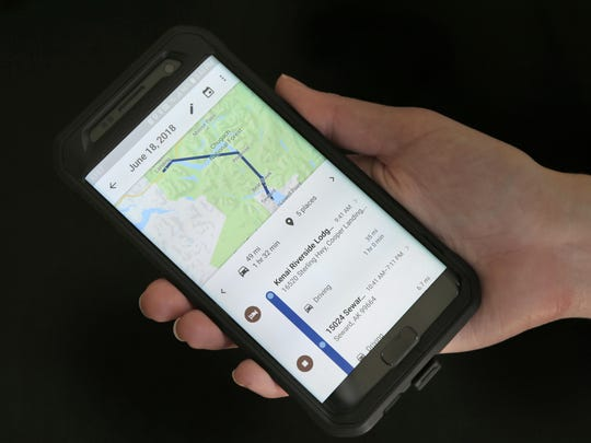 A mobile phone displays a user's travels using Google Maps in New York. Google attracted concern about its continuous surveillance of users after The Associated Press reported that it was tracking people's movements whether they like it or not.