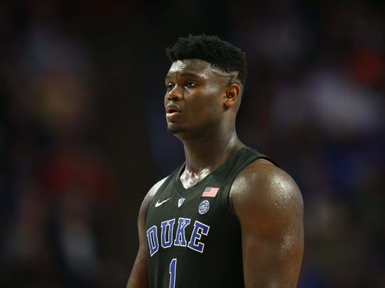 Duke Blue Devils forward Zion Williamson (1) stands on the court in the second half against the Wake Forest Demon Deacons at Lawrence Joel Coliseum