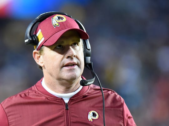 LANDOVER, MD - DECEMBER 30: Head coach Jay Gruden of the Washington Redskins looks on during the first half against the Philadelphia Eagles at FedExField on December 30, 2018 in Landover, Maryland. (Photo by Will Newton/Getty Images)