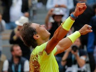 Austria's Dominic Thiem plays a shot against Russia's Karen Kachanov during their quarterfinal match of the French Open tennis tournament at the Roland Garros stadium in Paris, Thursday, June 6, 2019. (AP Photo/Pavel Golovkin)