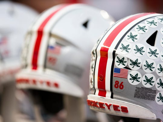 Nov 24, 2018; Columbus, OH, USA; A general view of Ohio State Buckeyes helmets prior to a game against the Michigan Wolverines at Ohio Stadium. (Photo: Greg Bartram-USA TODAY Sports)