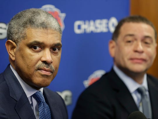 Knicks president Steve Mills (left) and general manager Scott Perry announced five free agent additions on Tuesday.