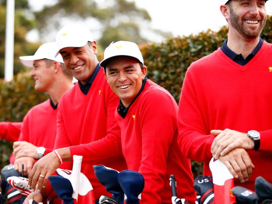 Rickie Fowler reacts during the United States team photo at the 2019 Presidents Cup at Royal Melbourne. (Photo by Daniel Pockett/Getty Images)