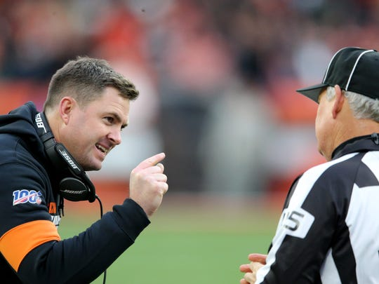 Cincinnati Bengals head coach Zac Taylor argues with an official in the fourth quarter during a Week 14 NFL football game against the Cleveland Browns, Sunday, Dec. 8, 2019, at FirstEnergy Stadium in Cleveland. The Cleveland Browns won 27-19, and the Cincinnati Bengals fell to 1-12 on the season.  Cincinnati Bengals At Cleveland Browns 12 8 2019