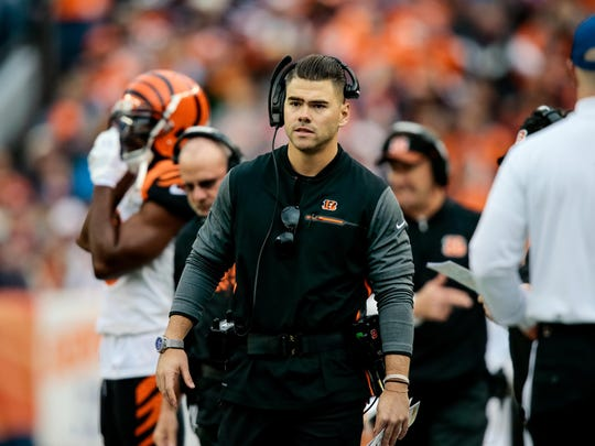 Cincinnati Bengals assistant special teams coordinator Brayden Coombs in the second quarter of the game against the Denver Broncos on Nov. 19, 2017, at Sports Authority Field at Mile High in Denver.