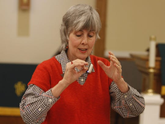 Mary Combs leads a recent choir rehearsal. She founded the South Cheatham Choral Society in 2003.