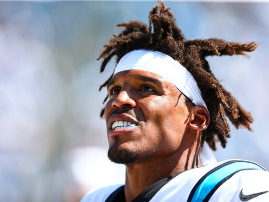 Sep 8, 2019; Charlotte, NC, USA; Carolina Panthers quarterback Cam Newton (1) stands on the sidelines during a game against the Los Angeles Rams at Bank of America Stadium. Mandatory Credit: Jeremy Brevard-USA TODAY Sports