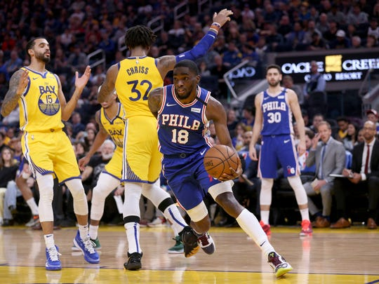 Mar 7, 2020; San Francisco, California, USA; Philadelphia 76ers guard Shake Milton (18) drives to the basket against the Golden State Warriors in the second quarter at the Chase Center. Mandatory Credit: Cary Edmondson-USA TODAY Sports