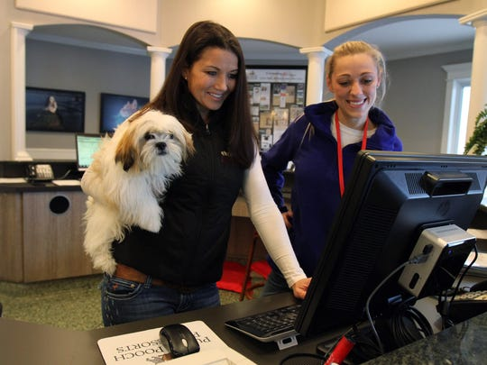 Betsy Palazzo-Dudick (left) of Monmouth Beach, co-owner of Purr 'N Pooch, and pet technician Tammy Kohanski of Middletown scroll through the Purr 'N Pooch Facebook page with Molly, a 6-month-old Shih Tzu owned by Pamela Bernardino of Red Bank.