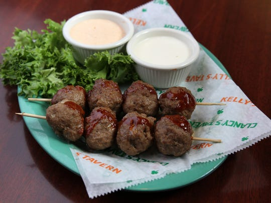 Guinness Meatballs: homemade meatballs with Guinness beer, grilled and skewered served with malt vinegar dipping sauce, at Kelly's Tavern in Neptune.