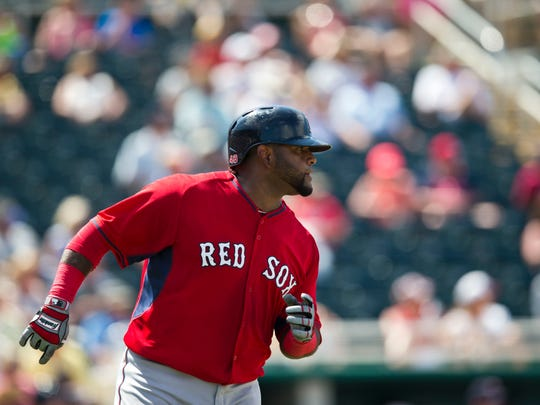 Boston Red Sox's Pablo Sandoval runs towards first base in the fifth inning during an exhibition spring training baseball game against the Minnesota Twins, Wednesday, April 1, 2015, in Fort Myers, Fla. (AP Photo/Brynn Anderson)