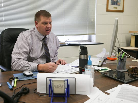 Jess Toliver, superintendent of Eagle Grove Community School District, is seen in his office on Tuesday, Dec. 16, 2014, in Eagle Grove, Iowa.